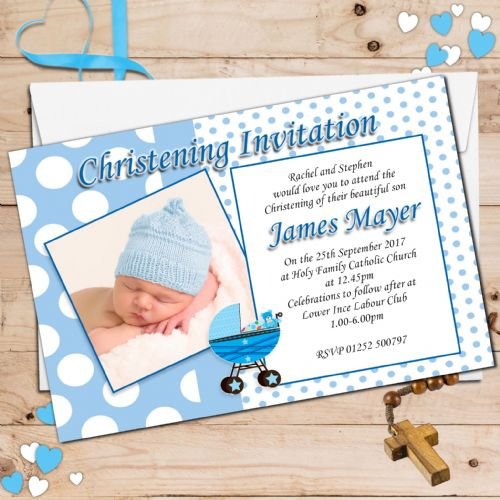 10 Personalised Christening Baptism Photo Invitations N13